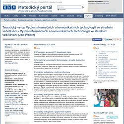Tematický vstup Výuka informačních a komunikačních technologií ve středním vzdělávání - DIGIFOLIO