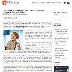 Témoignage Intranet & RSE chez Axa Banque, Florence Genon-Catalot – L'Observatoire des RSE