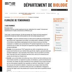 Florilège de témoignages — Département de Biologie
