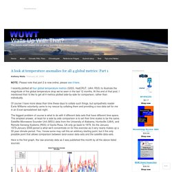 A look at temperature anomalies for all 4 global metrics: Part 1