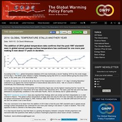 2014: Global Temperature Stalls Another Year
