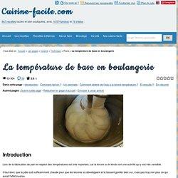 La température de base en boulangerie