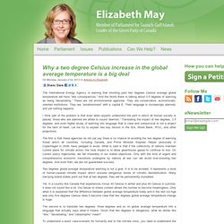Why a two degree Celsius increase in the global average temperature is a big deal – elizabethmaymp.ca – January 24, 2013