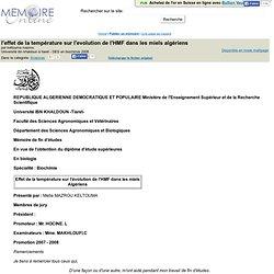 l'effet de la temperature sur l'evolution de l'HMF dans les miels algeriens - keltouma mazrou