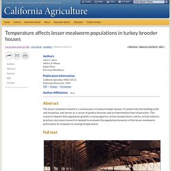 CALIFORNIA AGRICULTURE - MARS 1994 - Temperature affects lesser mealworm populations in turkey brooder houses