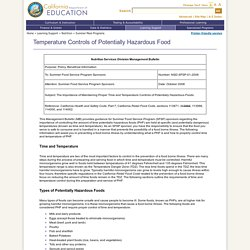 CALIFORNIA DEPARTMENT OF EDUCATION - OCT 2008 - Temperature Controls of Potentially Hazardous Food