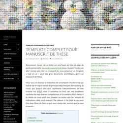 Template complet pour manuscrit de thèse