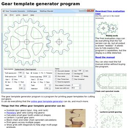 Gear template generator program