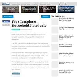 Free Template Household Notebook - Stepcase Lifehack