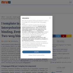 I template in Angular: Interpolazione, Property binding, Event Binding e Two-way binding