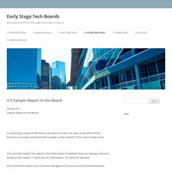 Template for Preparing a Management Report to the Board