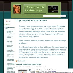 Templates for Student Projects - uTeach With Technology