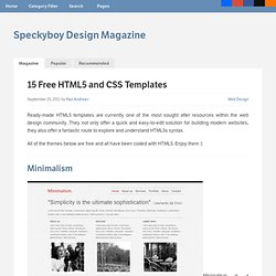 15 Free HTML5 and CSS Templates