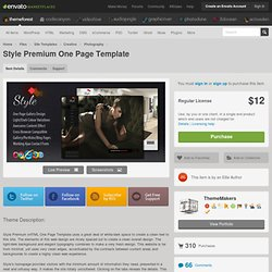 Style Premium One Page Template