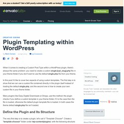 Plugin Templating within WordPress