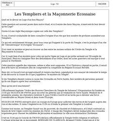 3181-1 : Les Templiers et la Maçonnerie Ecossaise