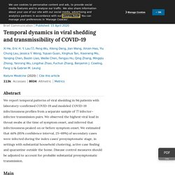 Temporal dynamics in viral shedding and transmissibility of COVID-19