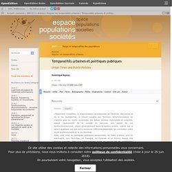 Temporalités urbaines et politiques publiques