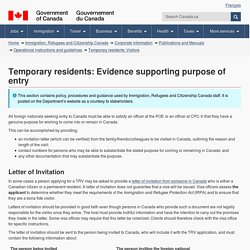 Temporary residents: Evidence supporting purpose of entry