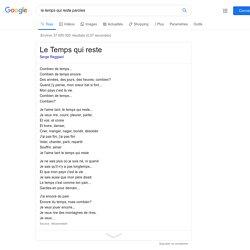 le temps qui reste paroles - Recherche Google