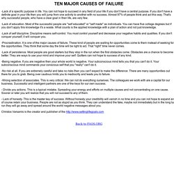 TEN MAJOR CAUSES OF FAILURE