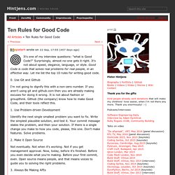 Ten Rules for Good Code