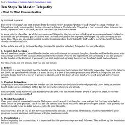 Ten Steps To Master Telepathy