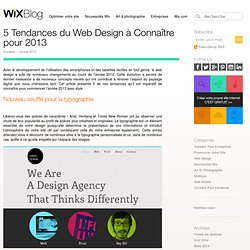 5 Tendances de Web Design à connaître pour 2013 - Le Blog Officiel Wix