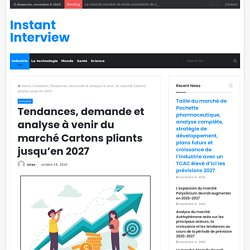 Tendances, demande et analyse à venir du marché Cartons pliants jusqu'en 2027 – Instant Interview