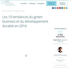 Les 10 tendances du green business & du développement durable en 2016
