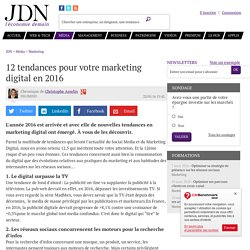 12 tendances pour votre marketing digital en 2016
