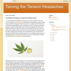 Taming the Tension Headaches: Try CBD Oil Therapy To Get Rid Of Back Pain
