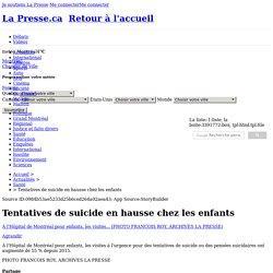 Tentatives de suicide en hausse chez les enfants