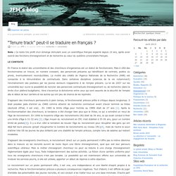 """""""Tenure track"""" peut-il se traduire en français ? at JFM's blog"""