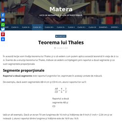 Teorema lui Thales - Matera