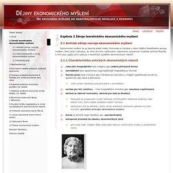 Kapitola 2 Zdroje teoretického ekonomického myšlení
