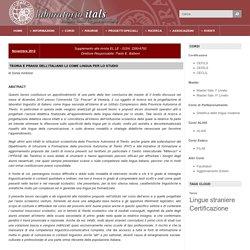 Teoria e prassi dell'italiano L2 come lingua per lo studio