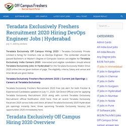 Teradata Exclusively Off Campus Hiring 2020 Hiring DevOps Engineer Freshers Jobs