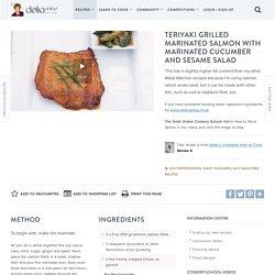 Teriyaki Grilled Marinated Salmon with Marinated Cucumber and Sesame Salad