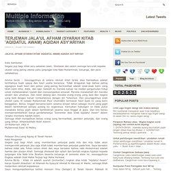 TERJEMAH JALA'UL AFHAM (SYARAH KITAB 'AQIDATUL AWAM) AQIDAH ASY'ARIYAH ~ Multiple Information