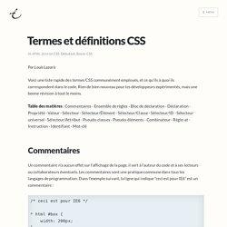 Termes et définitions CSS