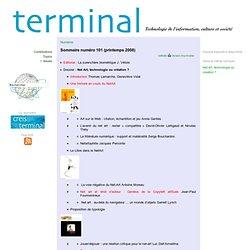 Revue Terminal - Sommaire numéro 101 (printemps 2008)