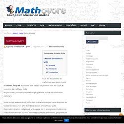 Maths au lycée : terminale s,première s,seconde,les mathématiques au lycée.