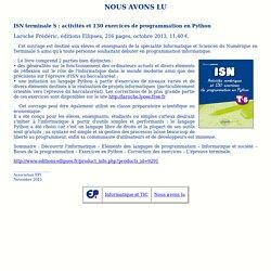 Nous avons lu : ISN terminale S: activités et 130 exercices de programmation en Python