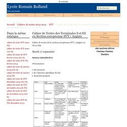 Cahier de Textes des Terminales S et ES en Section européenne SVT / (...) - Lycée Romain Rolland