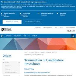 Termination of Candidature Procedures