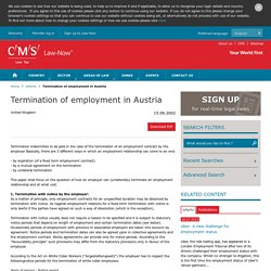 Termination of employment in Austria