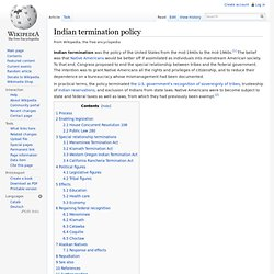 Indian termination policy