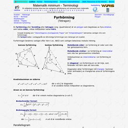 Fyrhörning eller tetragon - Matematik minimum - Terminologi och begreppsförklaring
