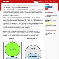 4.1. Terminología en la comunidad TDD (Diseño ágil con TDD)
